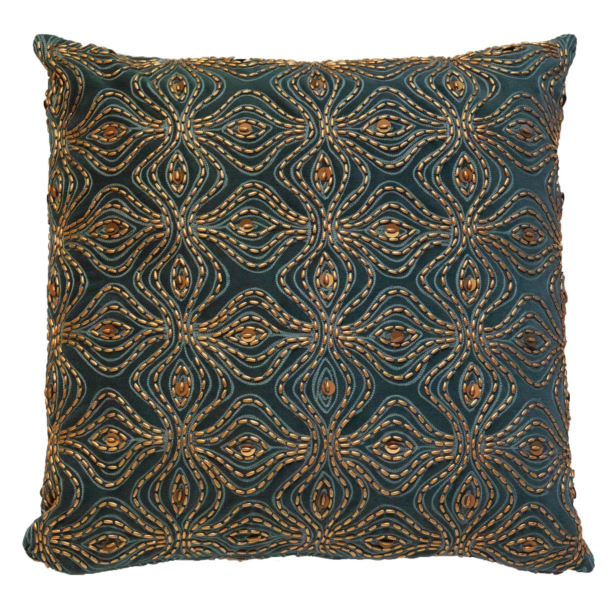 Encrusted Petal Cotton Throw Pillow