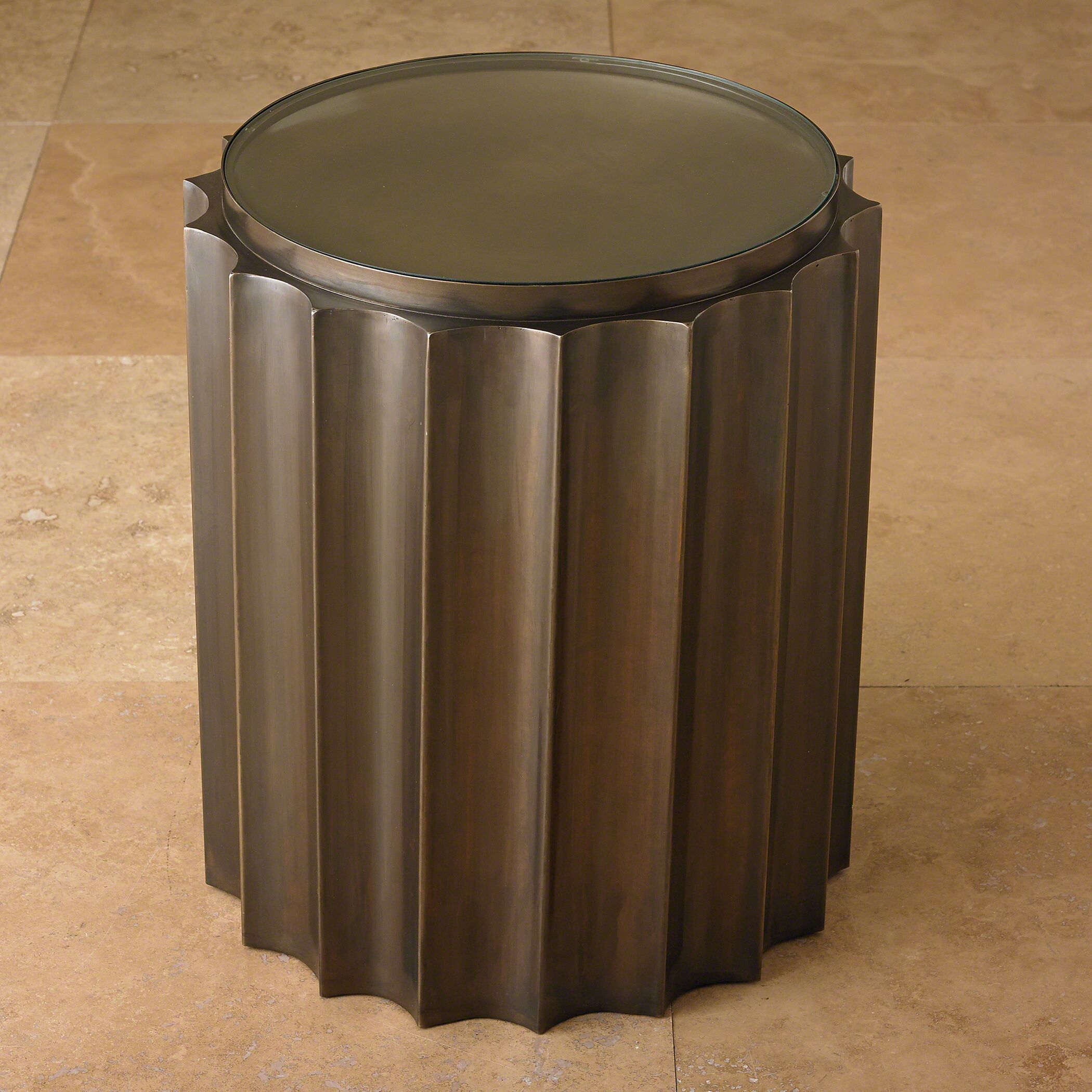 Fluted Column End Table Color: Bronze