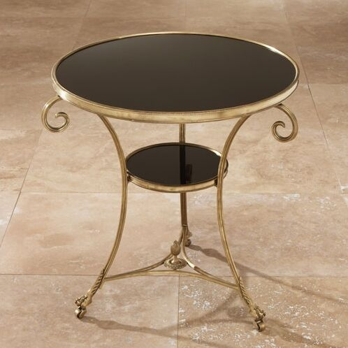 Draw Attention Tray Table Color: Brass & Black Granite