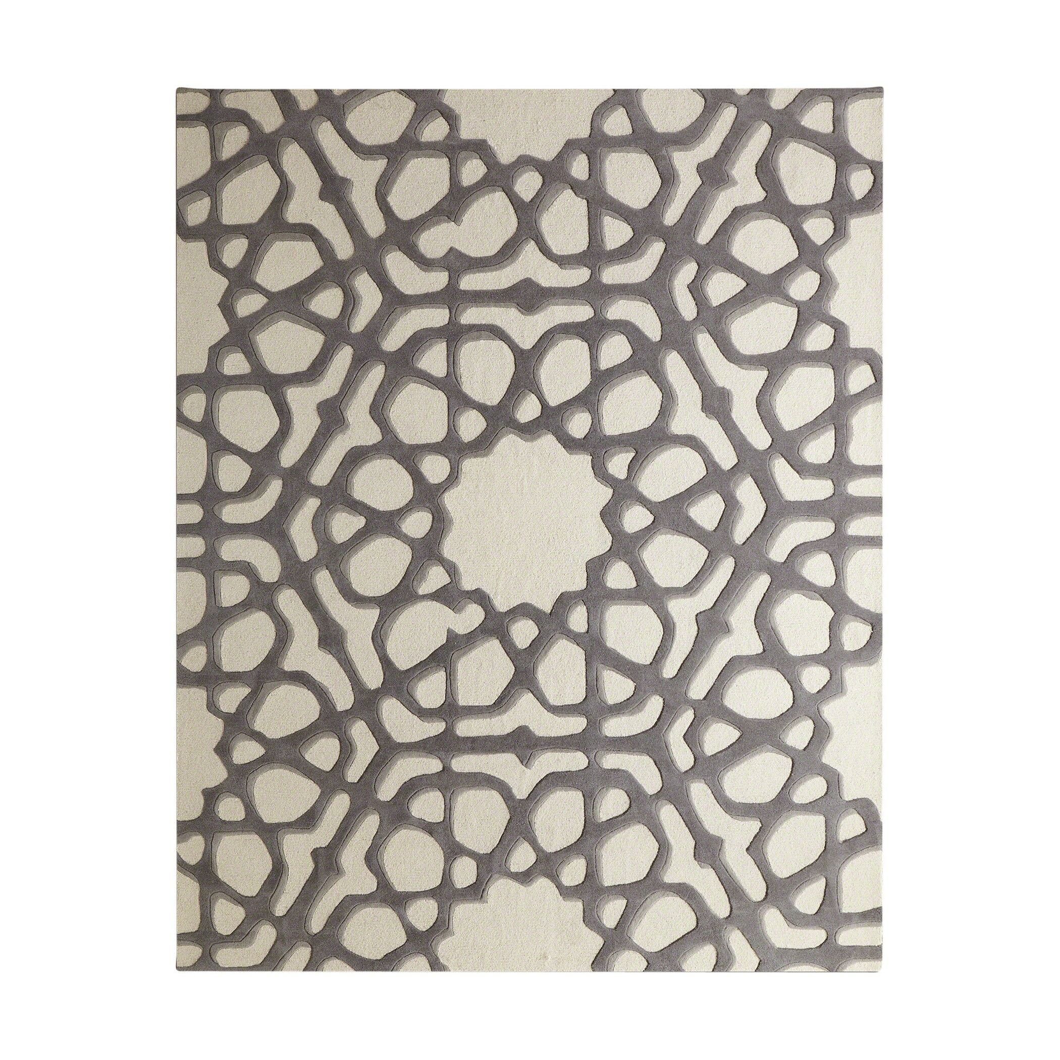 Rose Window Hand-Tufted Wool Gray Area Rug Rug Size: Rectangle 9' x 12'