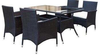 Mulberry 5 Piece Dining Set with Cushion Finish: Black and White