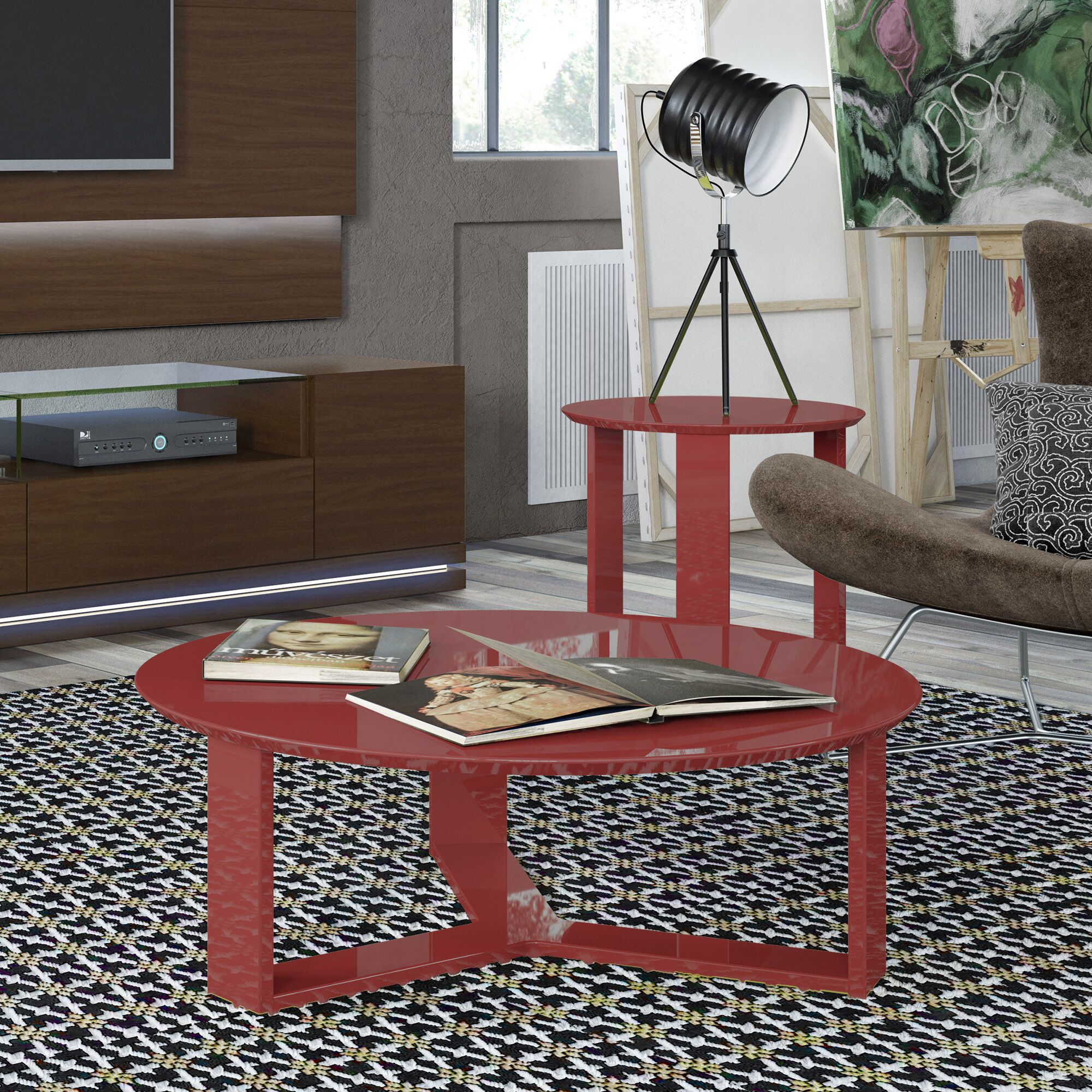 Emiliah 2 Piece Coffee Table Set Color: Red