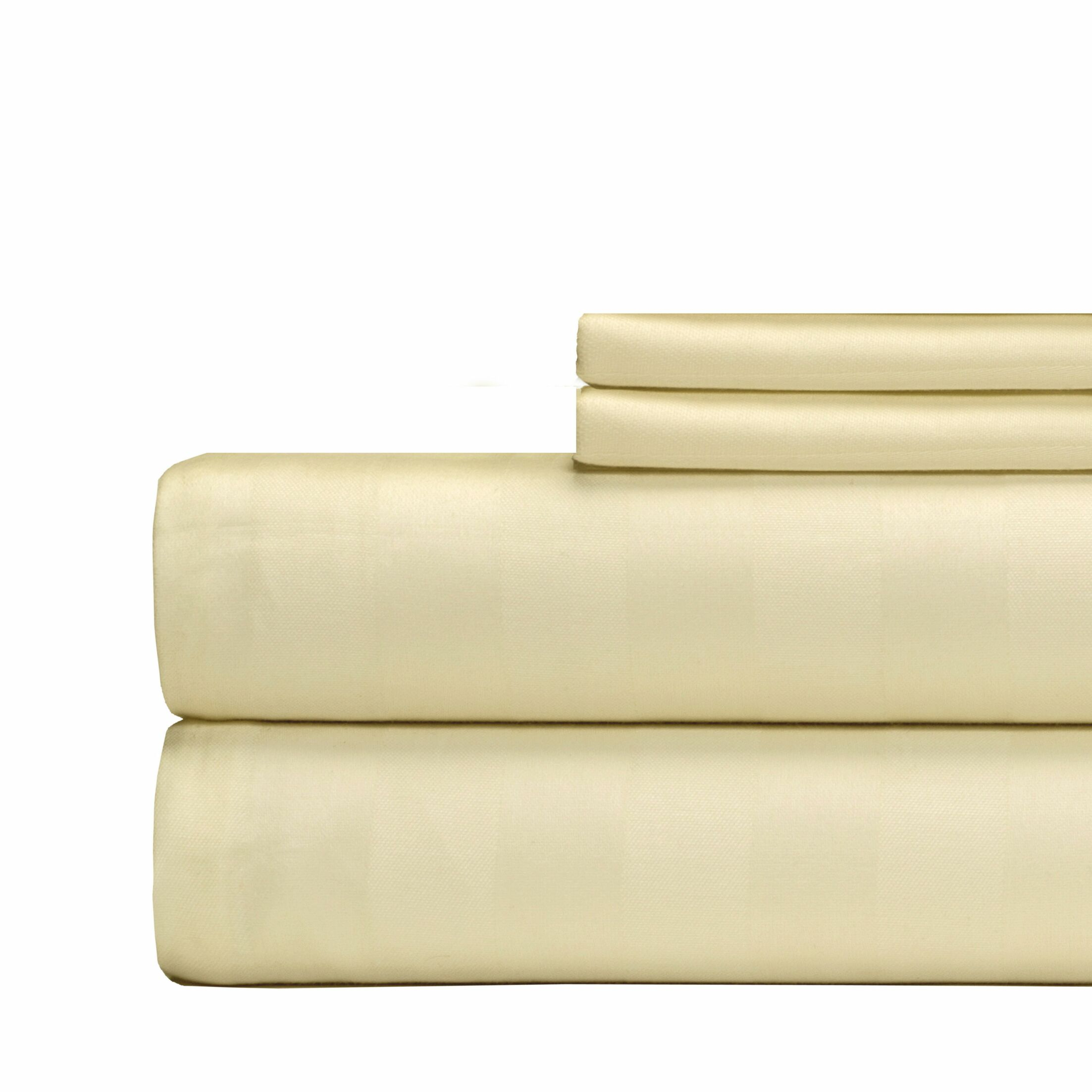 4 Piece 500 Thread Count Egyptian Quality Cotton Sheet Set Color: Ivory, Size: King