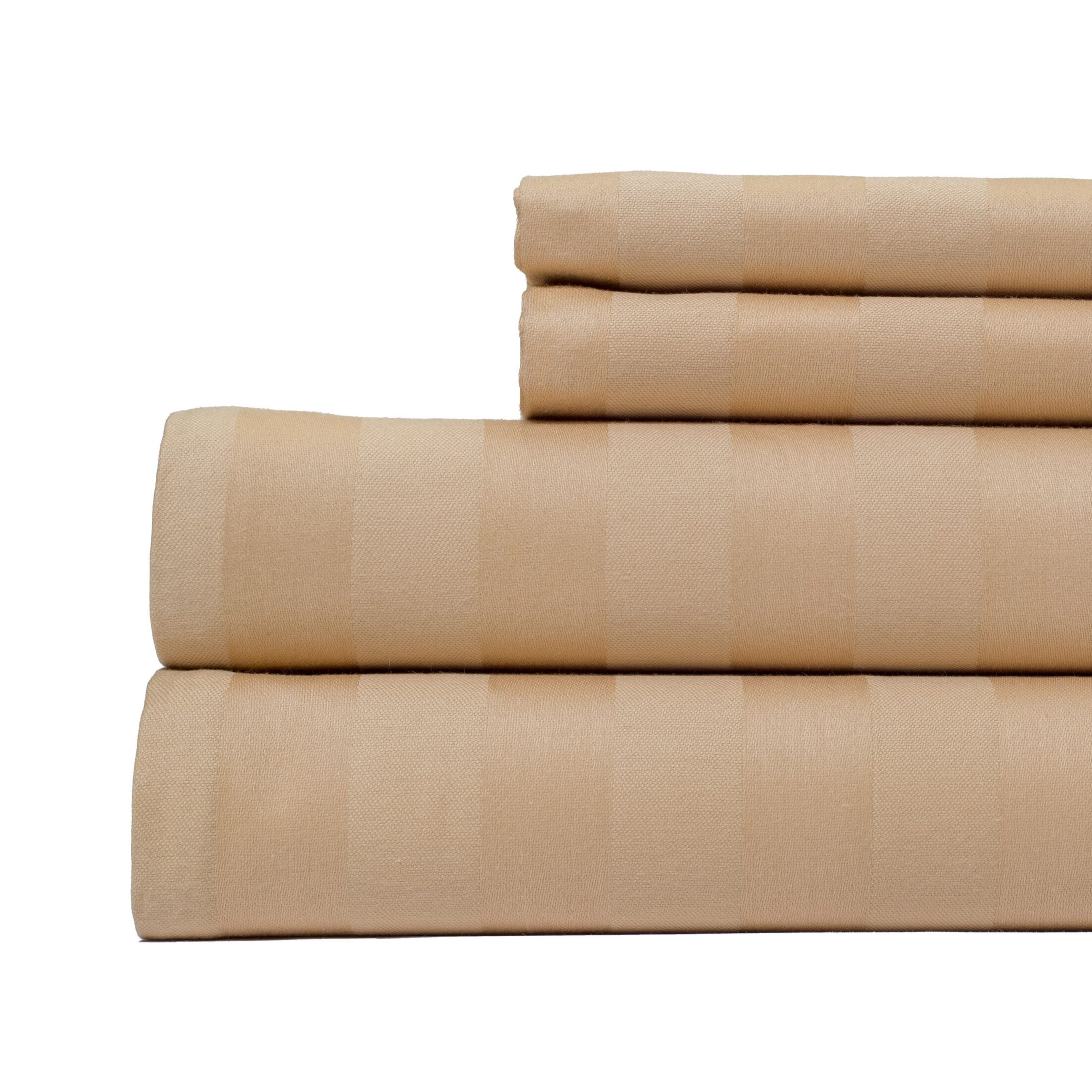 4 Piece 500 Thread Count Egyptian Quality Cotton Sheet Set Color: Tan, Size: California King