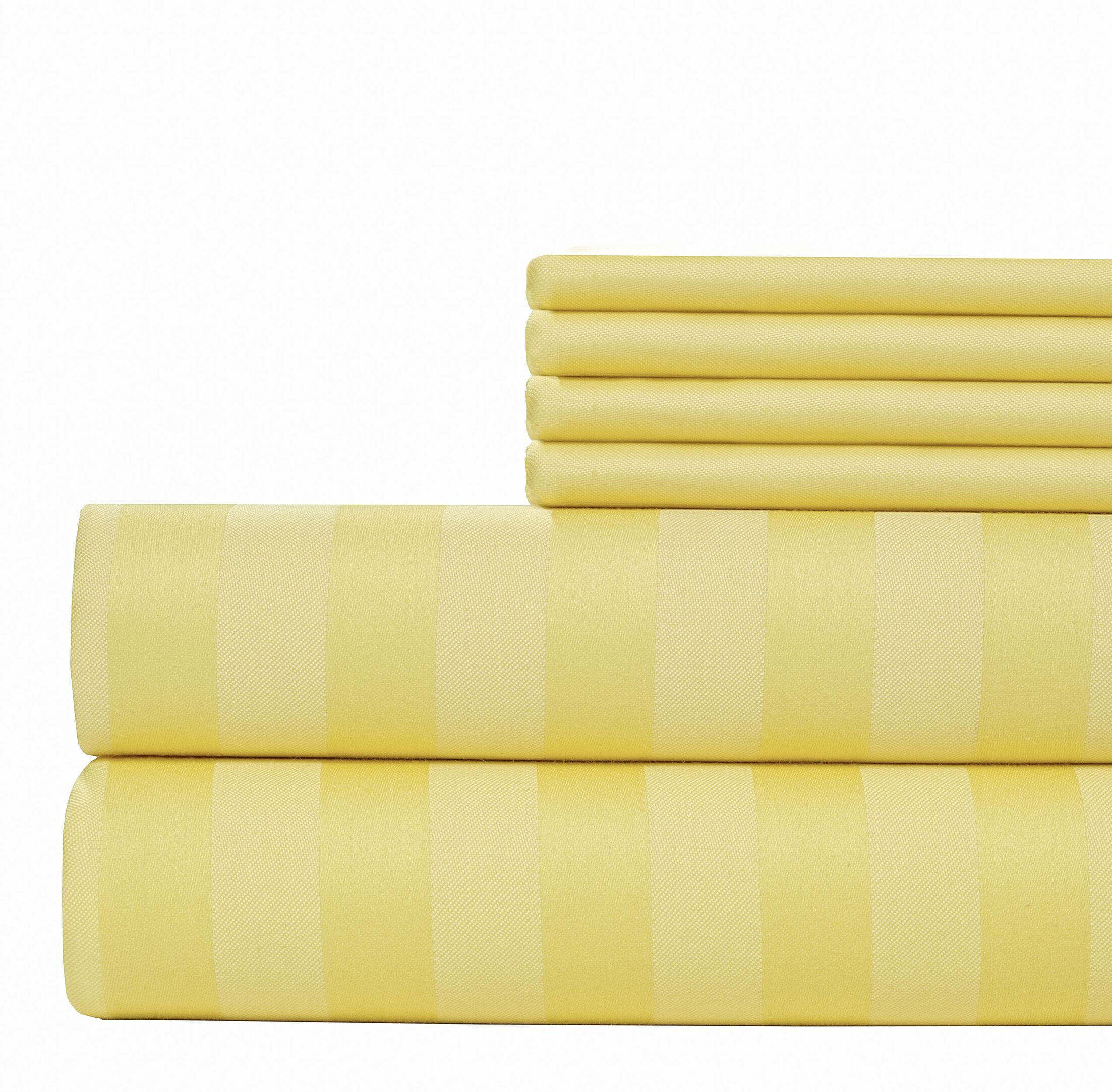 6 Piece 1000 Thread Count Sheet Set Color: Yellow, Size: Full