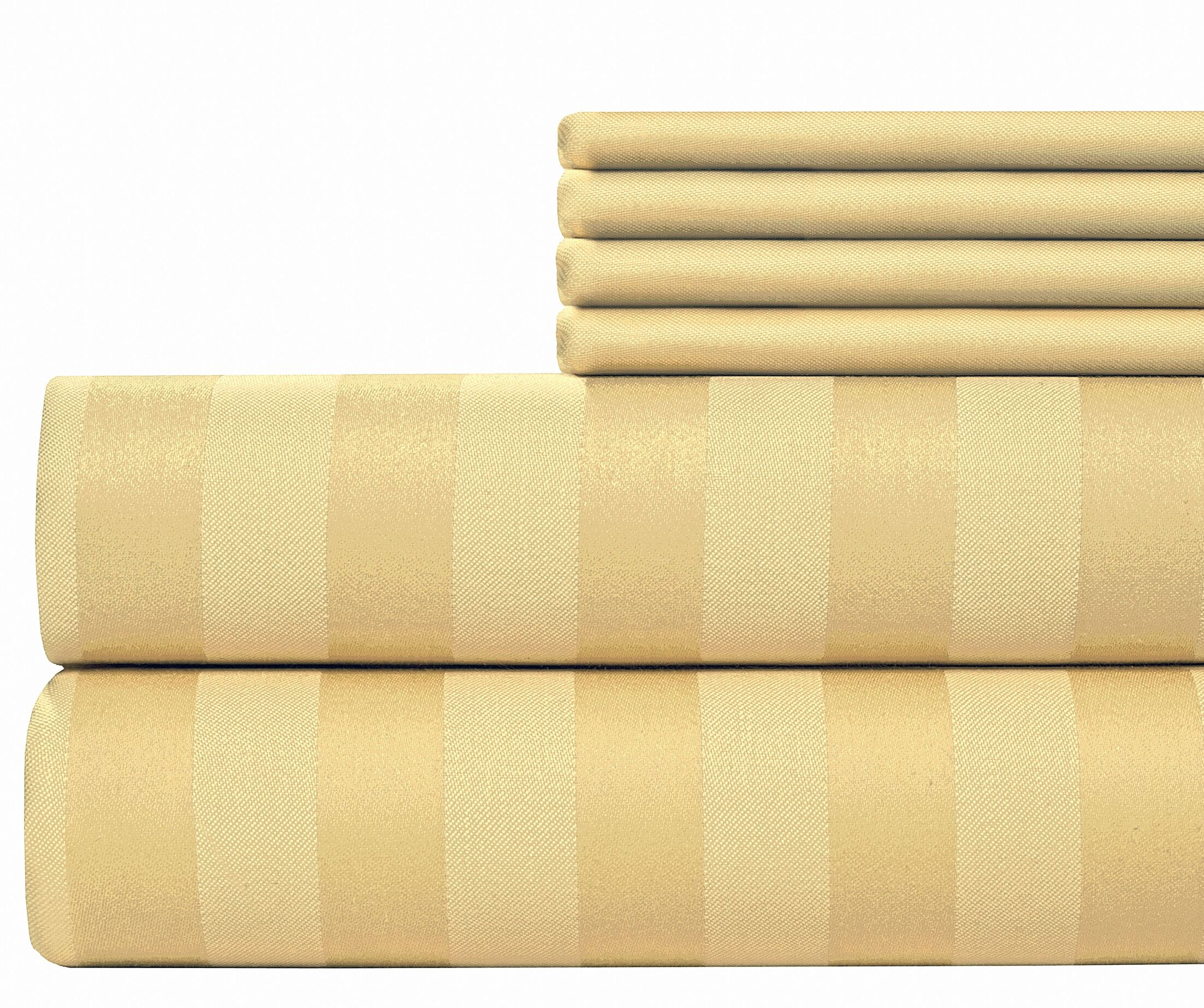 6 Piece 500 Thread Count Egyptian Quality Cotton Sheet Set Size: King, Color: Butter