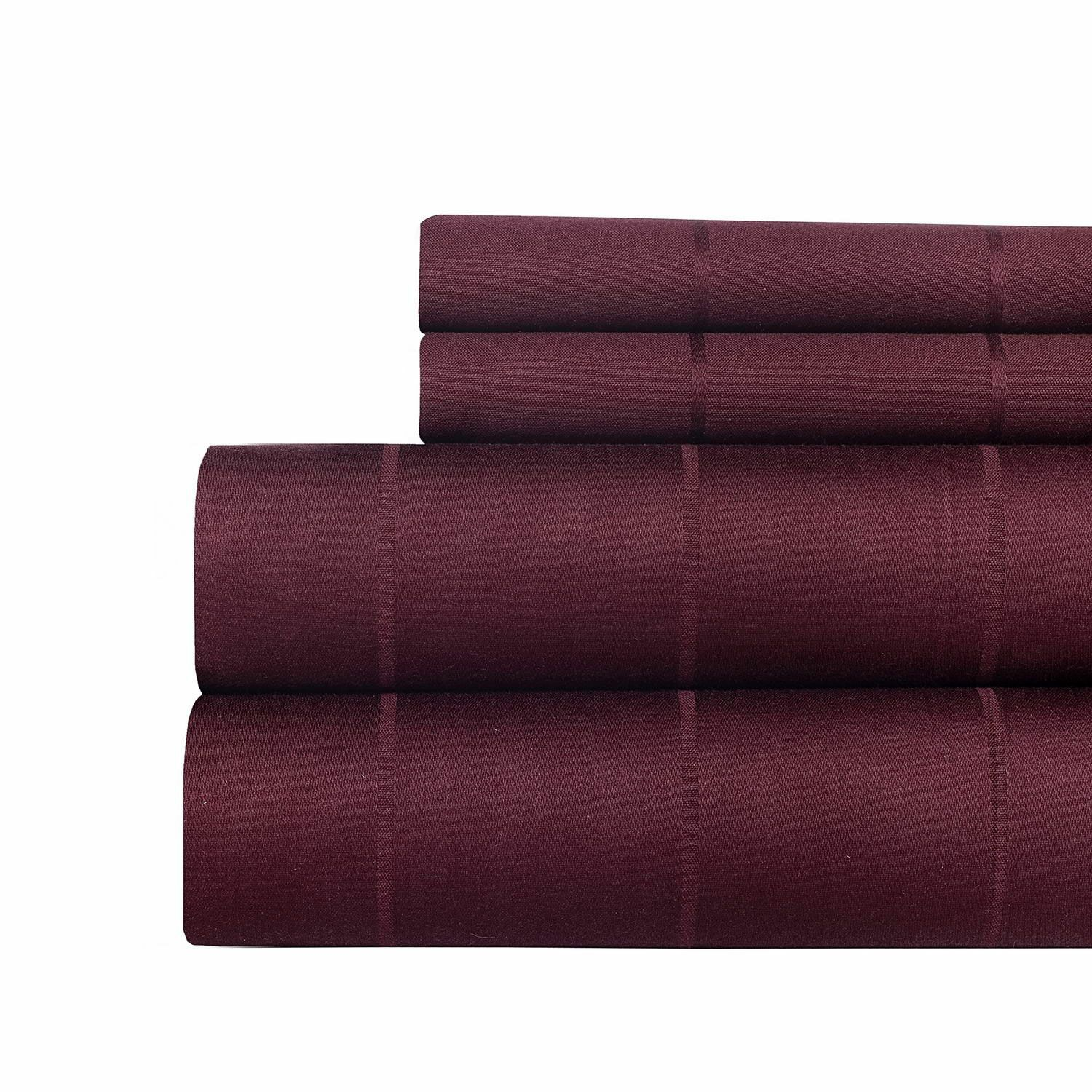 620 Thread Count Egyptian Quality Cotton Sheet Set Color: Burgundy, Size: King