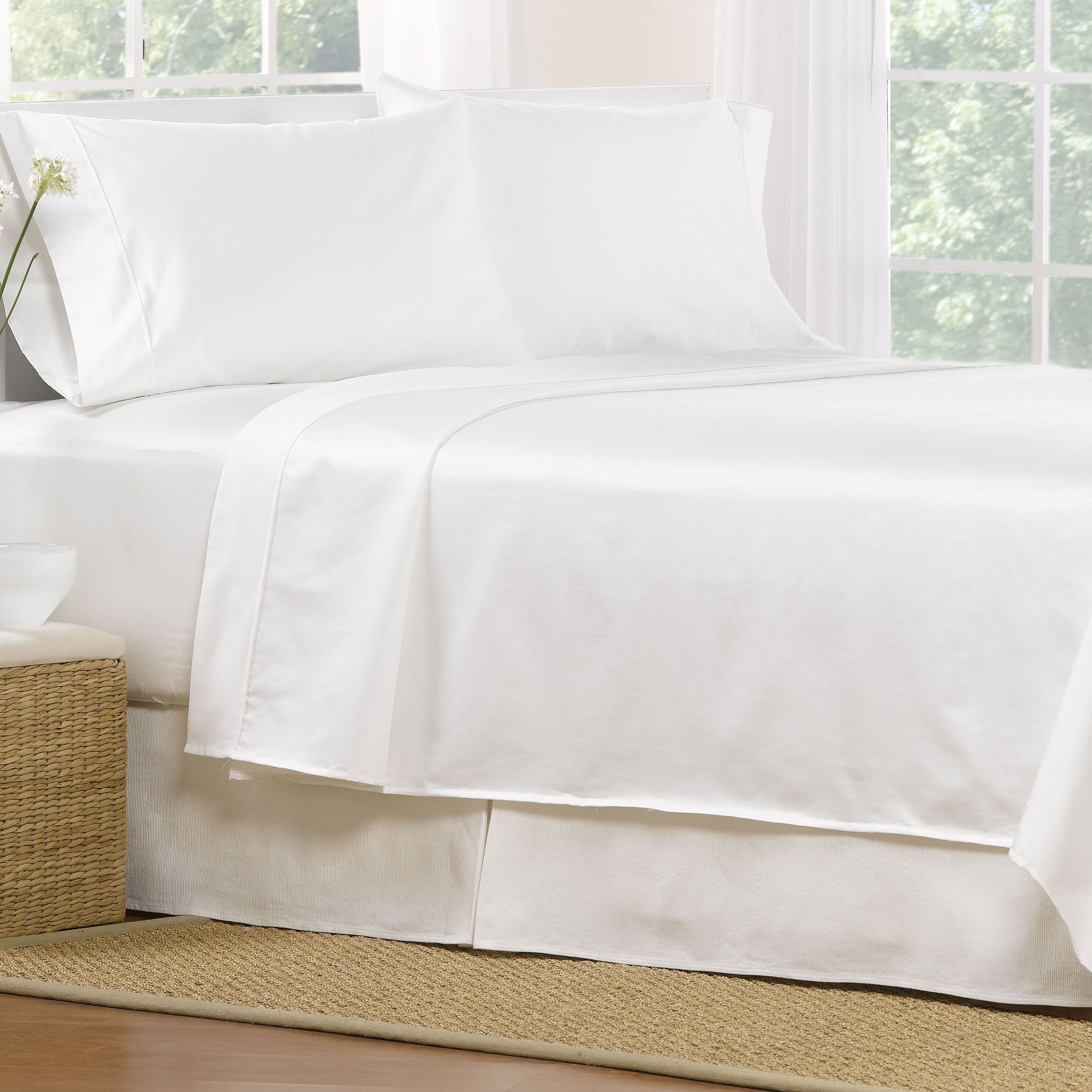 4 Piece 1000 Thread Count Egyptian Quality Cotton Sheet Set Color: White, Size: Full