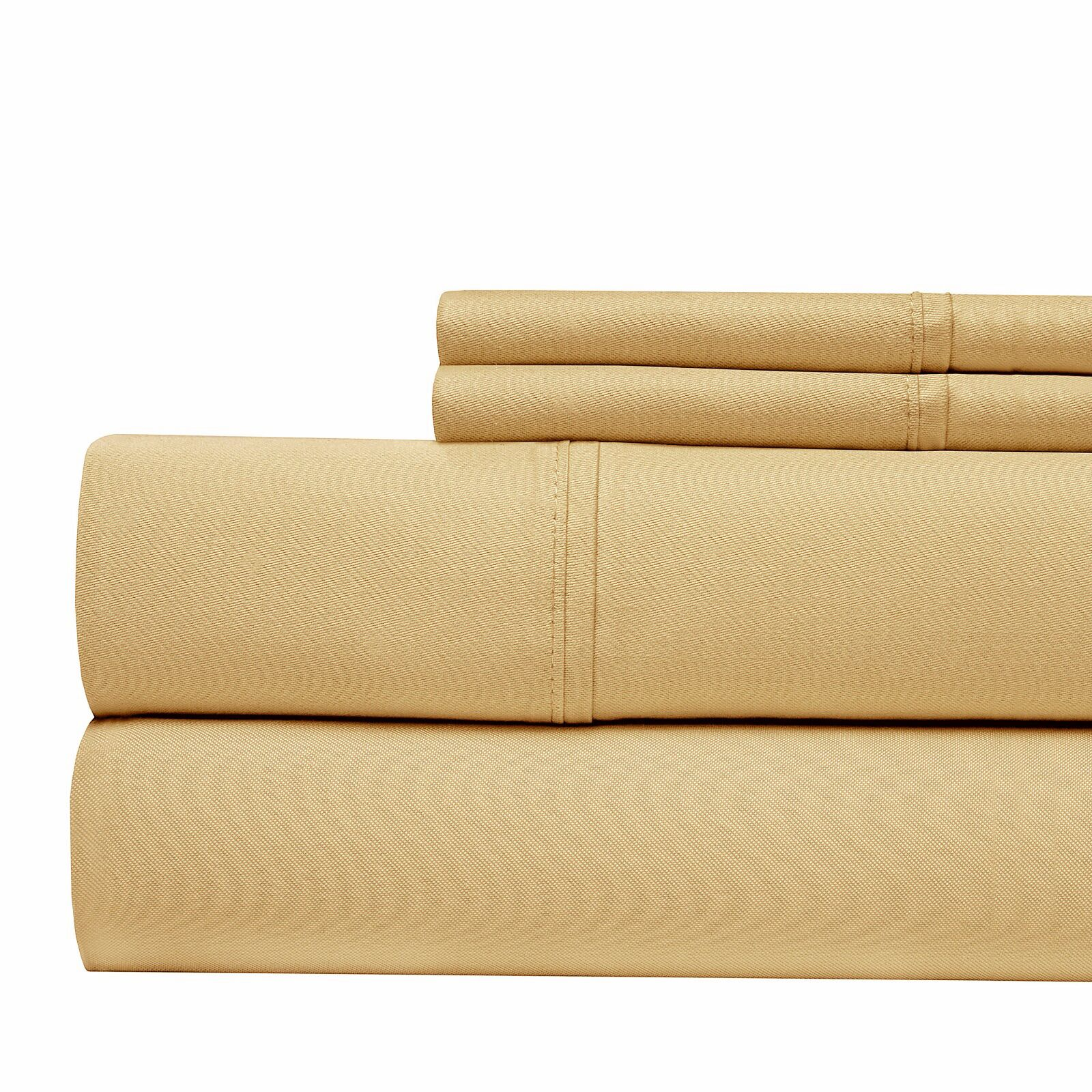 300 Thread Count 4 Piece Sheet Set Color: Wheat, Size: King