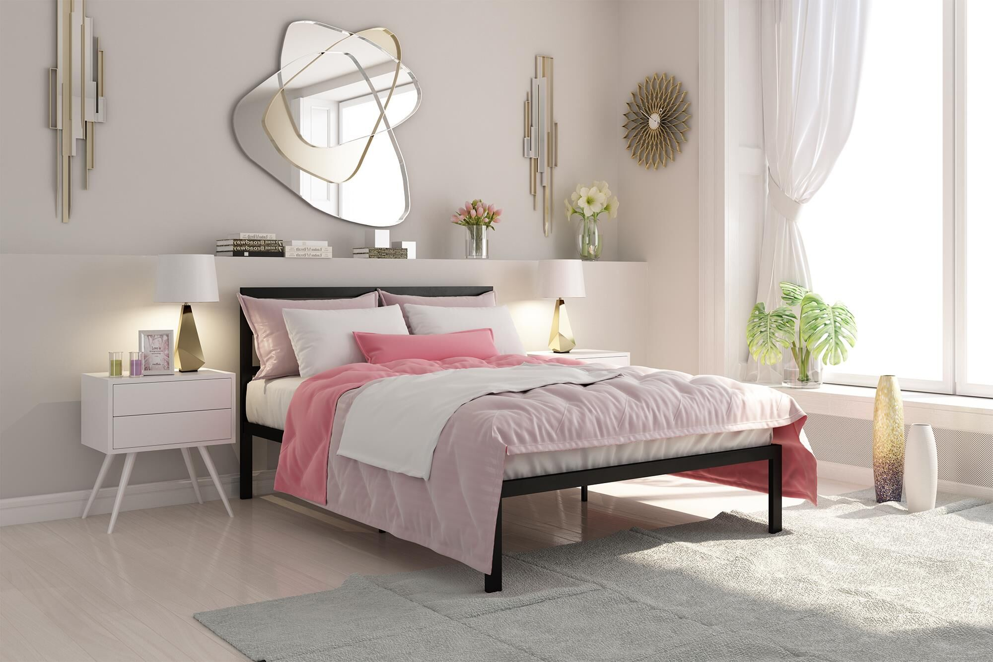 Sindel Platform Bed with Mattress Color: Black, Size: Full