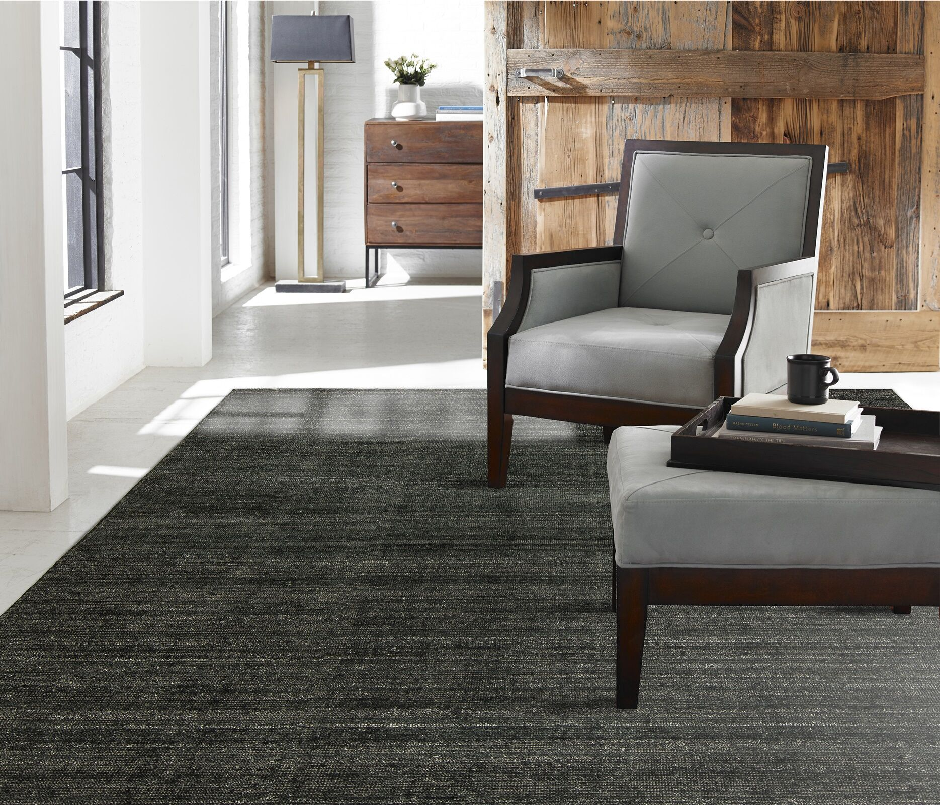 Saulters Hand-Woven Gray Area Rug Rug Size: 8'6