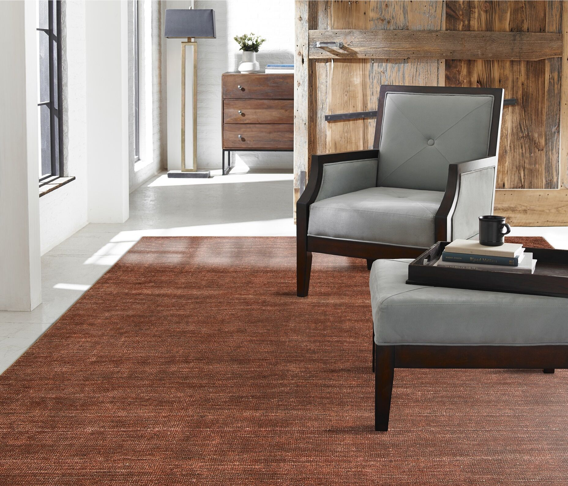 Chelsie Allspice Hand-Woven Rust Area Rug Rug Size: 5'6
