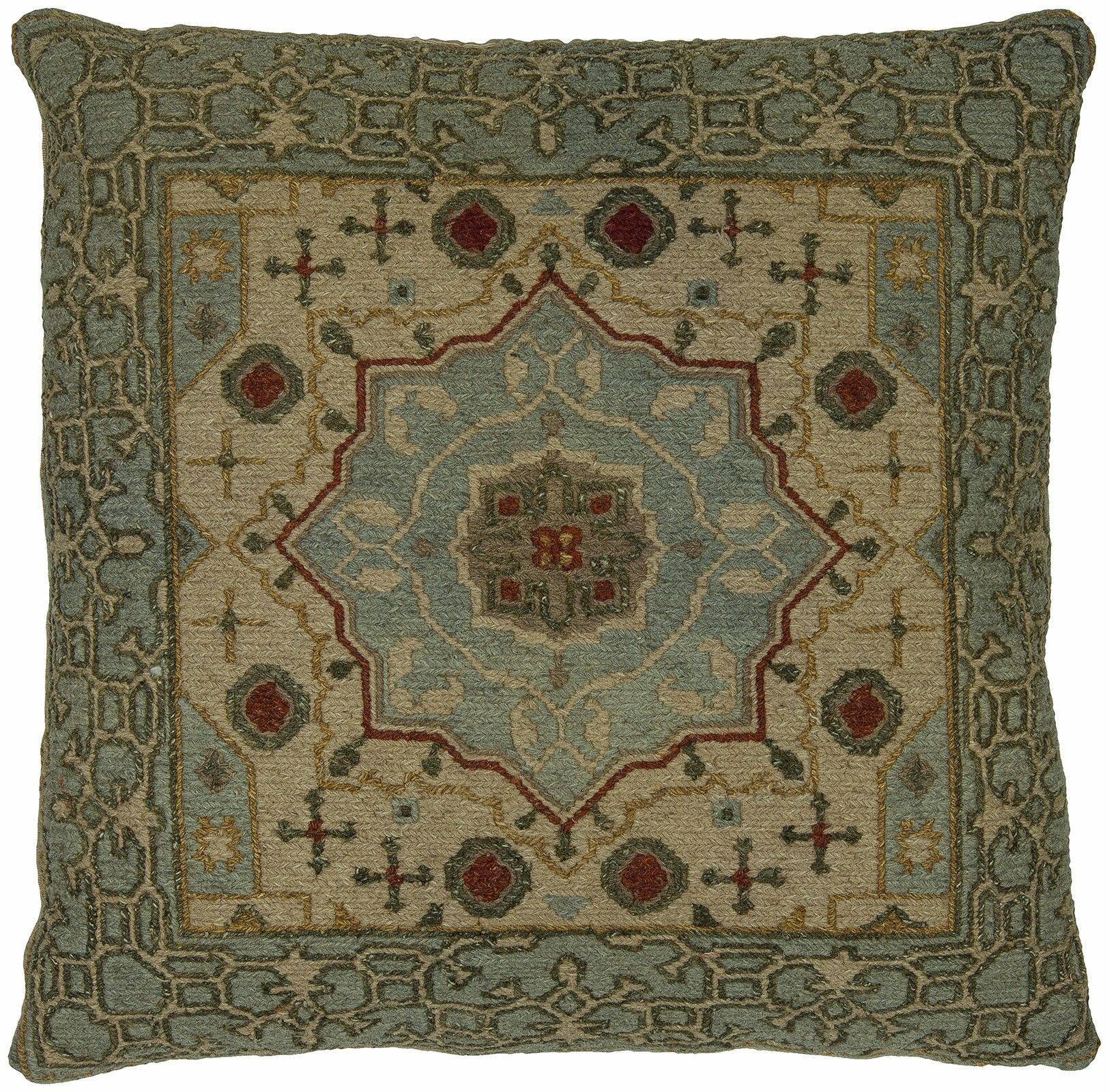 Stuart Wool Throw Pillow Color: Blue/Beige