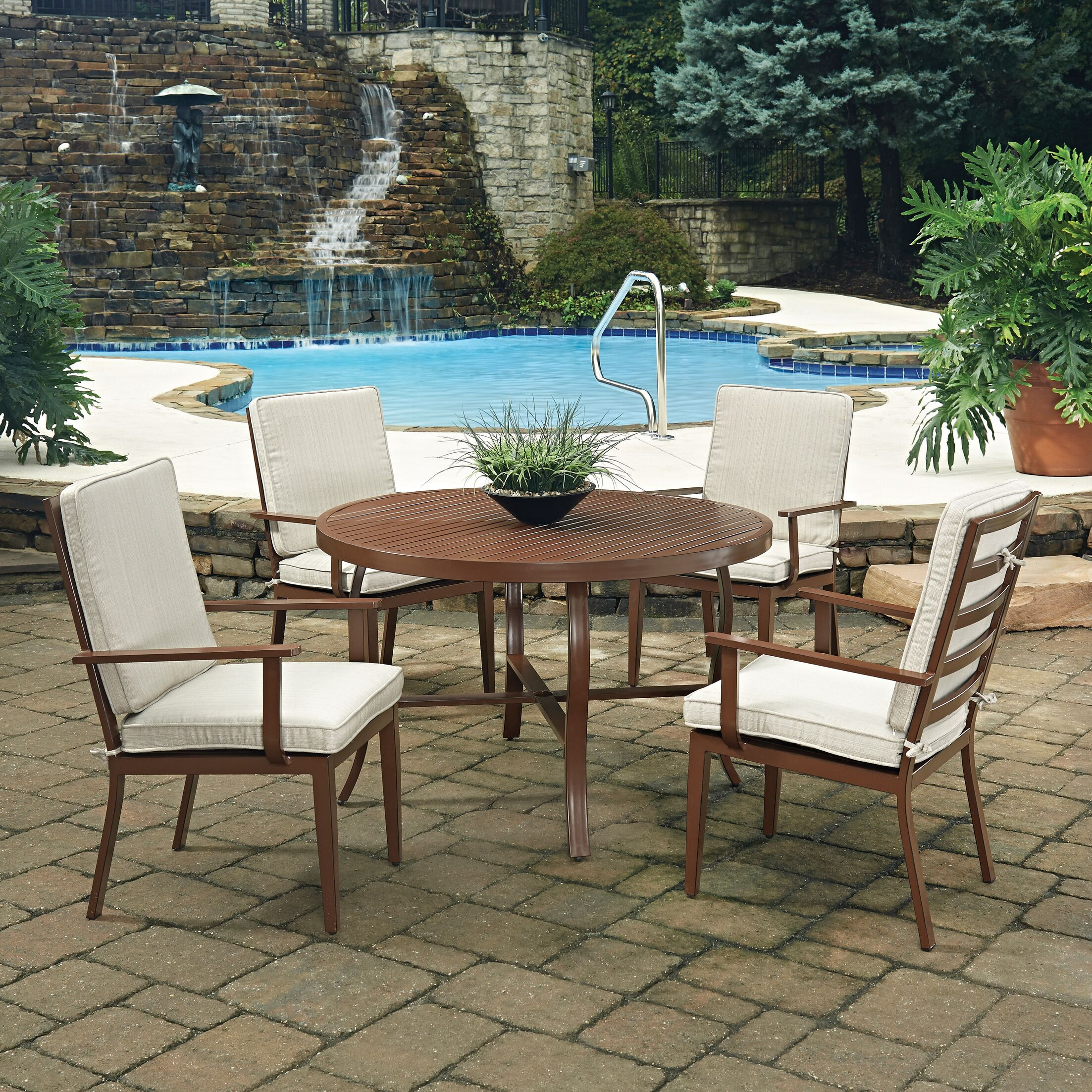 Key West 5 Piece Dining Set with Cushion Table Size: 48