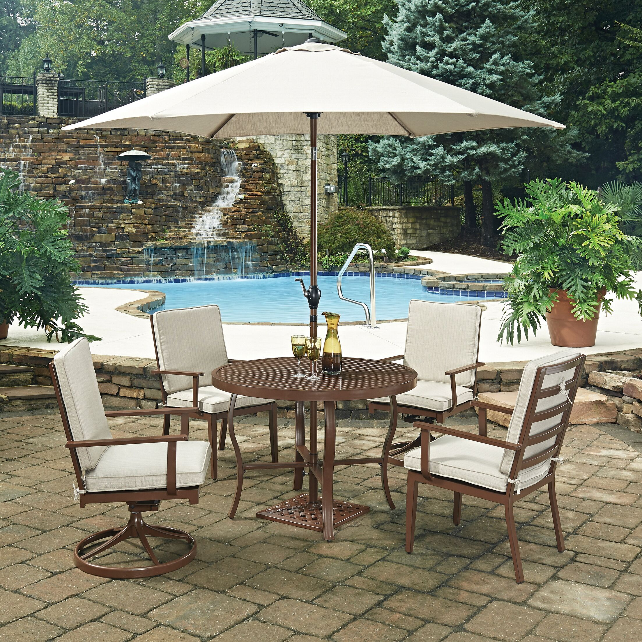 Key West 7 Piece Dining Set with Cushion Table Size: 42
