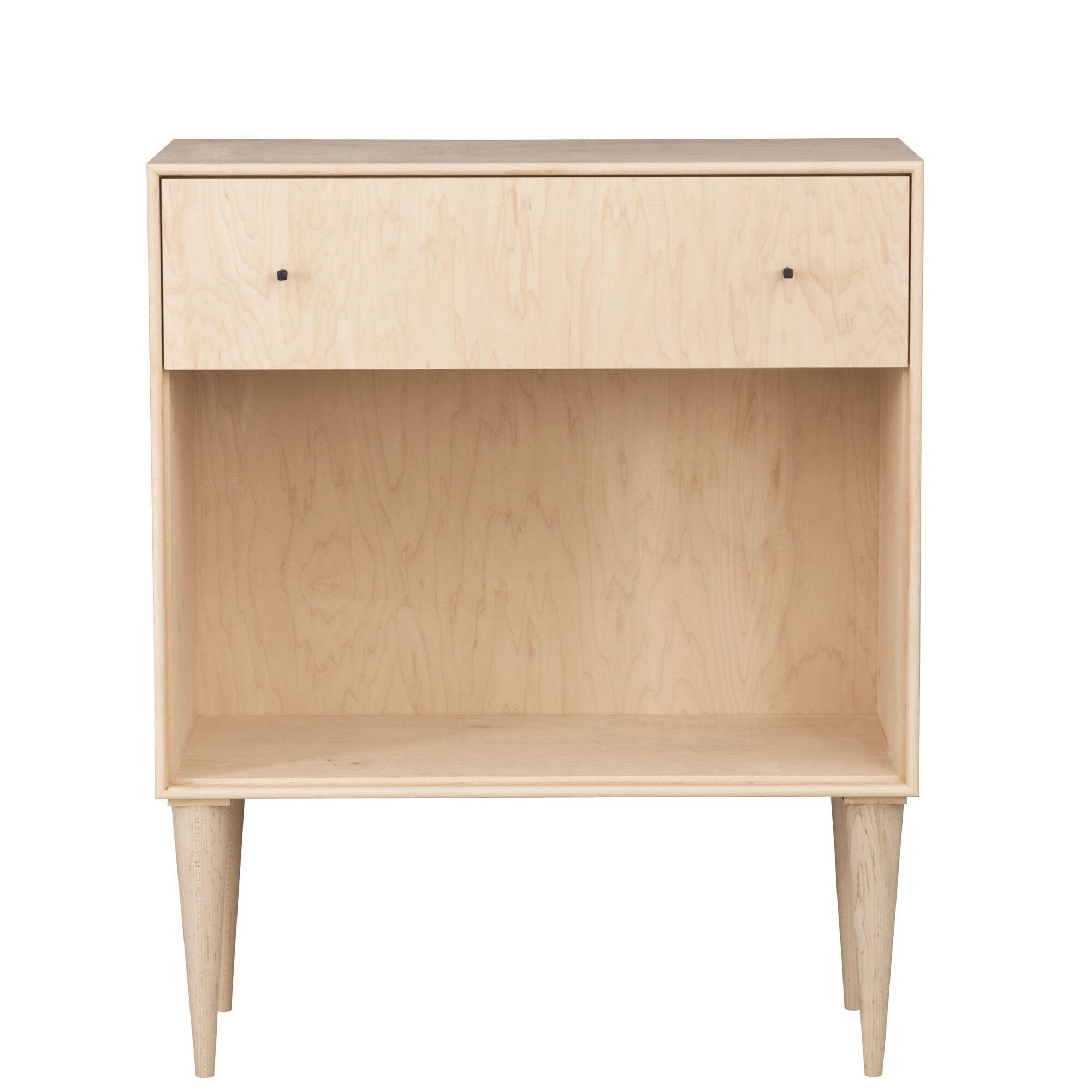 Midcentury 1 Drawer Nightstand Wood Veneer: Maple, Color: Toffee