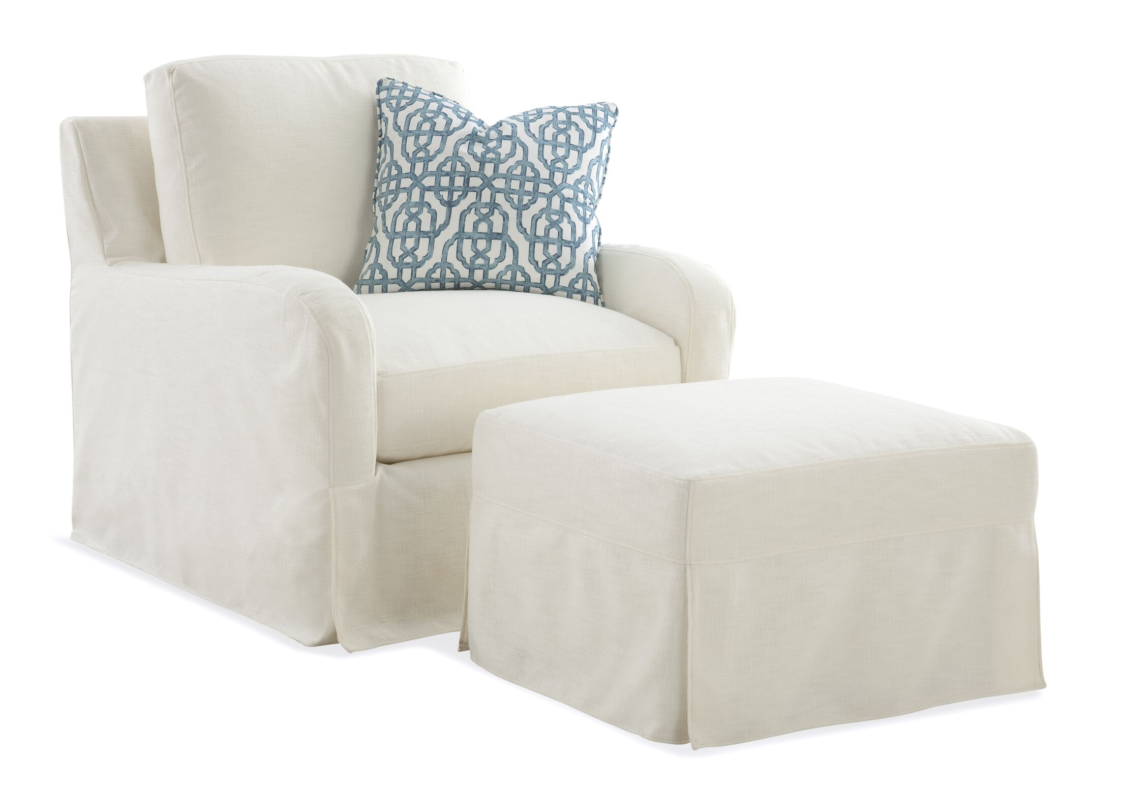 Halsey Box Cushion Ottoman Slipcover Upholstery: Green and Blue Stripe