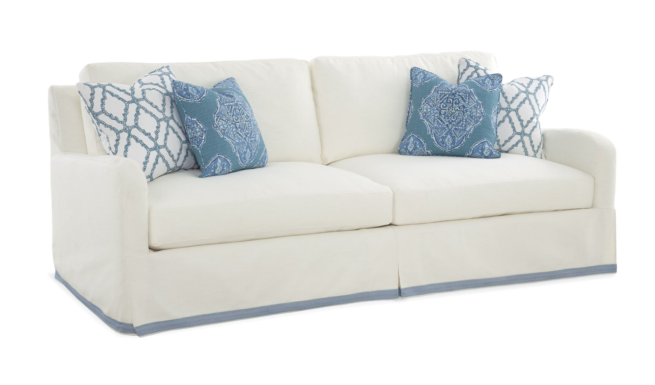 Halsey Box Cushion Sofa Slipcover Upholstery: Green and Blue Solid