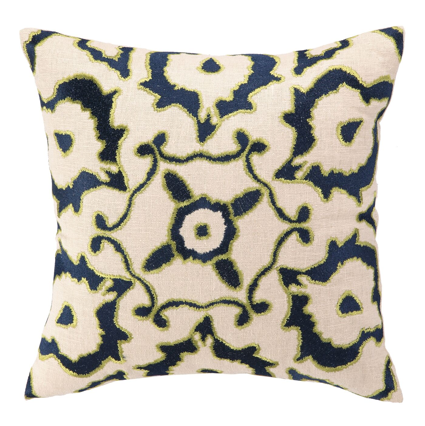 Courtney Cachet Vintage Ikat Embroidered Decorative Linen Throw Pillow Color: Navy