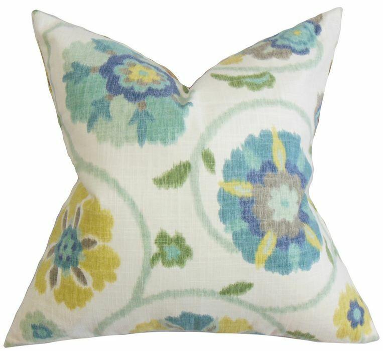 Aspendale Floral Cotton Throw Pillow Color: Seaglass, Size: 22