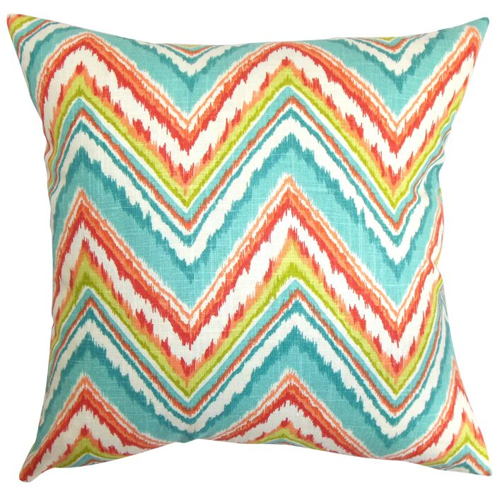 Dayana Zigzag Cotton Throw Pillow Color: Teal, Size: 24