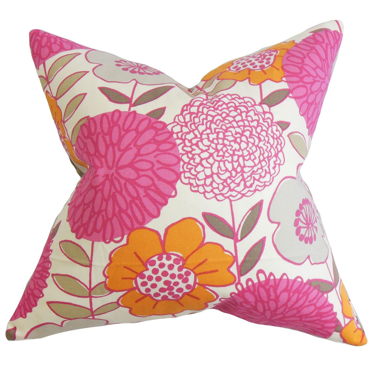 Veruca Floral Cotton Throw Pillow Color: Blossom, Size: 20