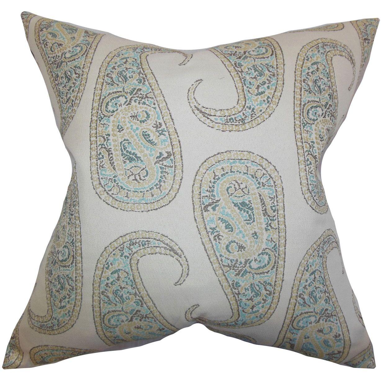 Amahl Paisley Throw Pillow Color: Blue, Size: 20