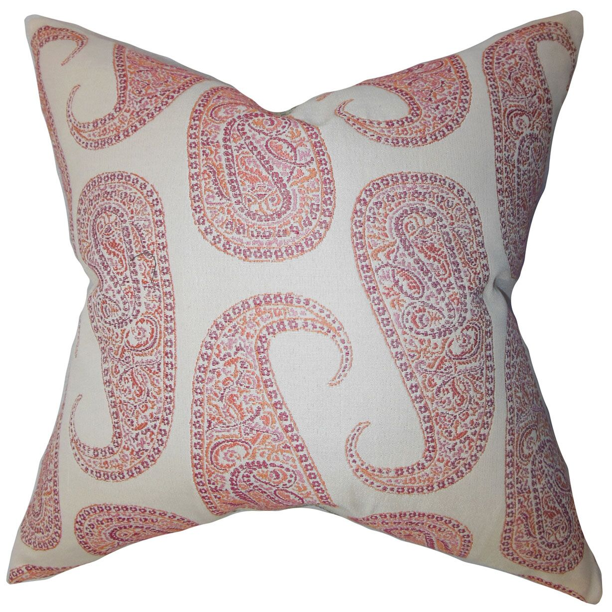 Amahl Paisley Throw Pillow Color: Pink, Size: 22