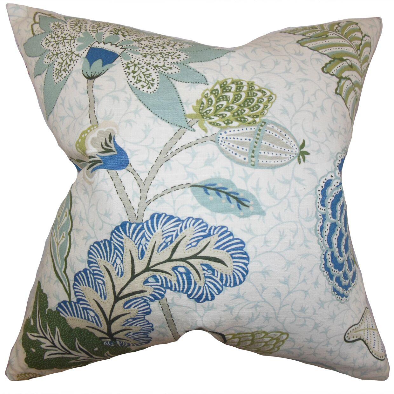 Ahna Floral Bedding Sham Size: Euro, Color: Aqua