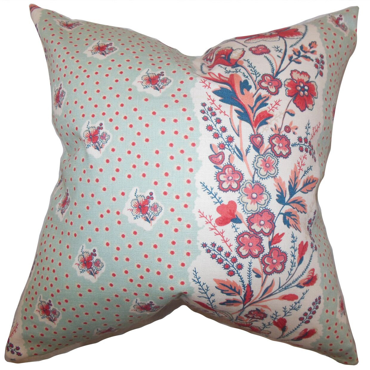 Elske Floral Throw Pillow Color: Sea Green, Size: 24