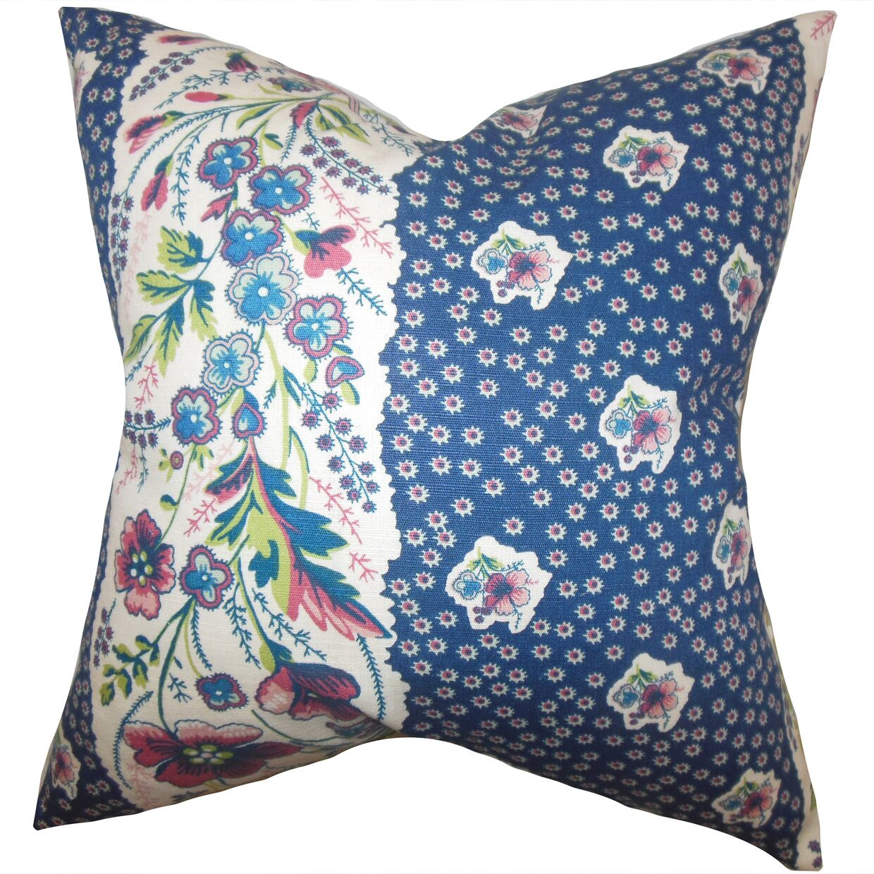 Elske Floral Throw Pillow Color: Sapphire, Size: 22