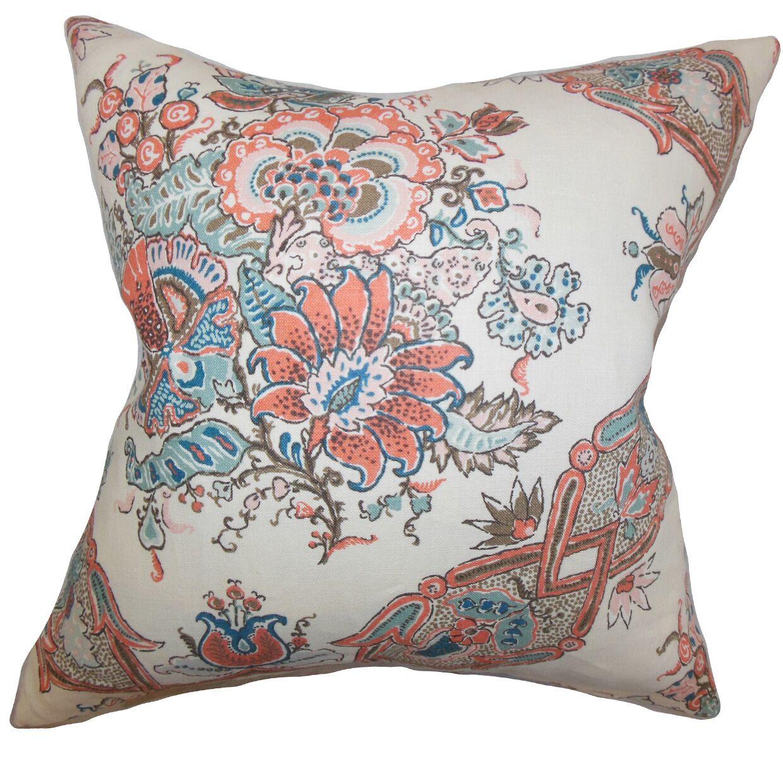 Laelia Floral Linen Throw Pillow Color: Coral, Size: 18