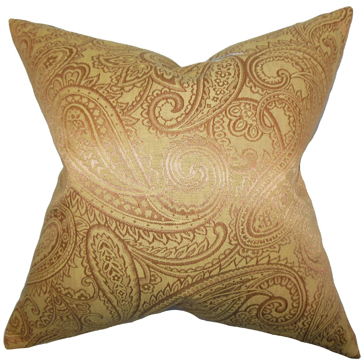 Cashel Paisley Throw Pillow Color: Yellow, Size: 24