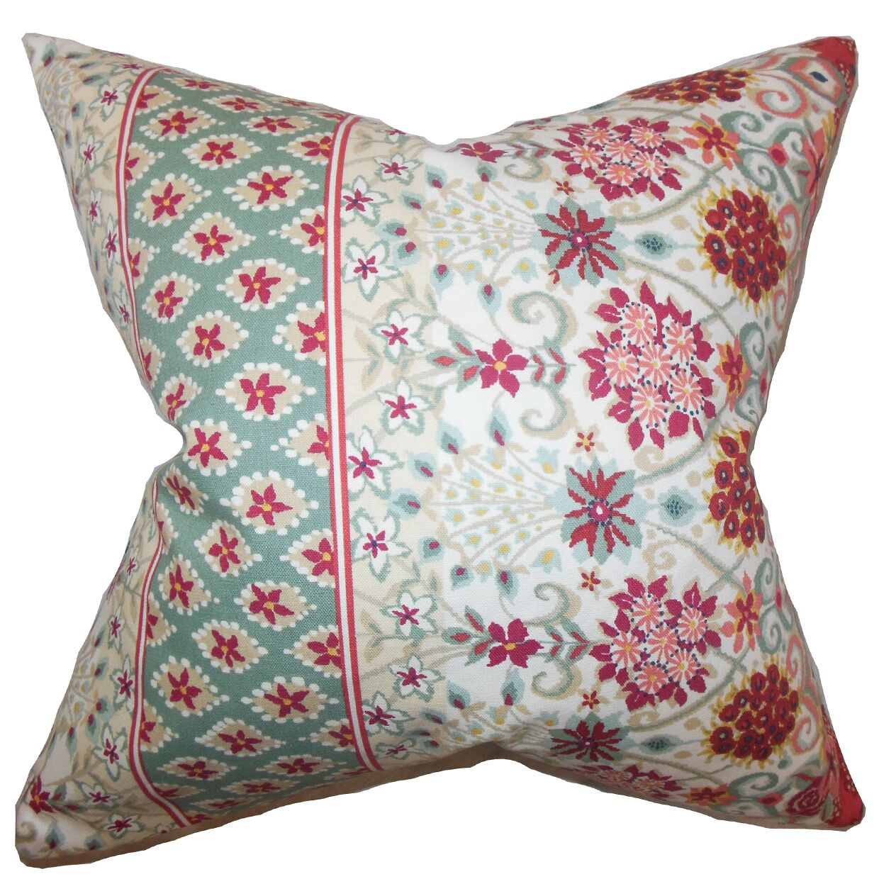 Kairi Floral Cotton Throw Pillow Color: Mint Red, Size: 24