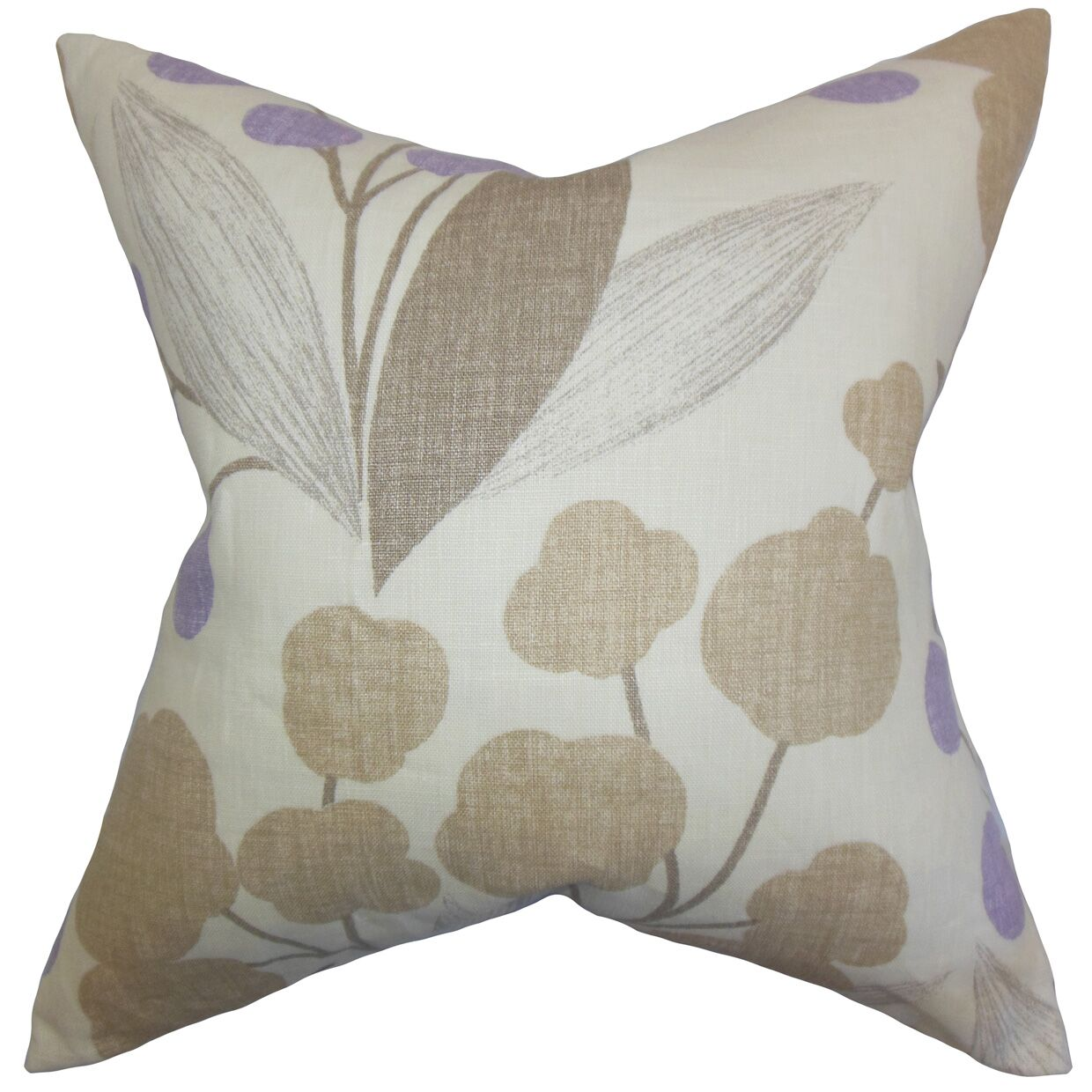 Geneen Floral Linen Throw Pillow Color: Wisteria, Size: 20