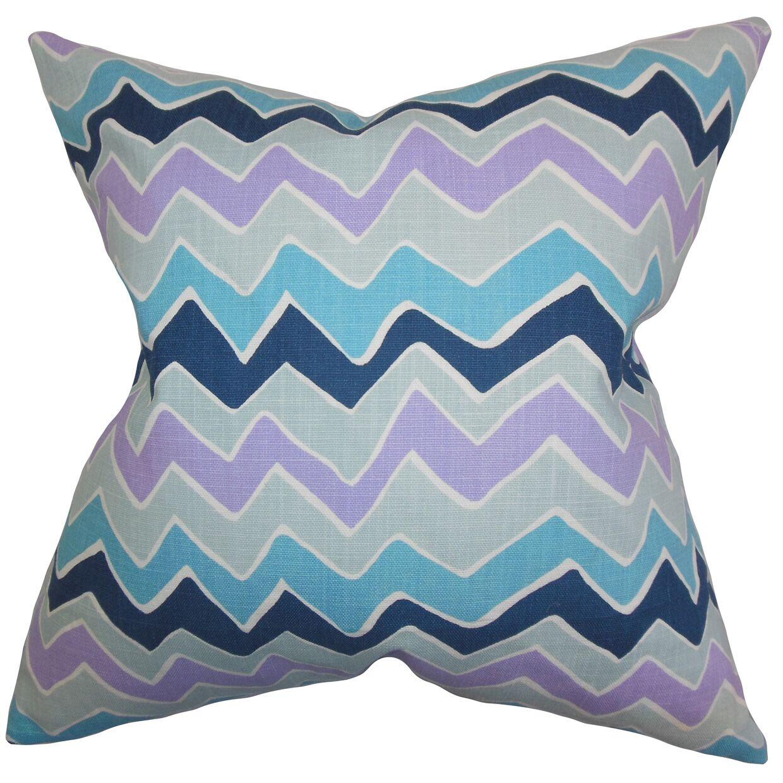 Achsah Zigzag Cotton Throw Pillow Color: Purple Blue, Size: 20