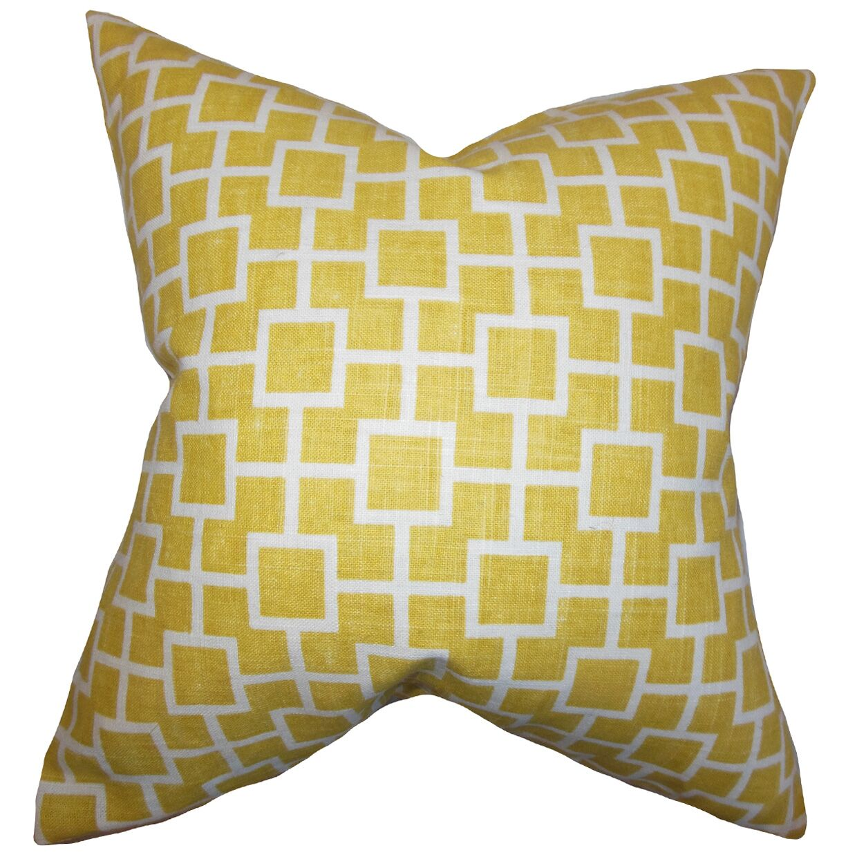 Jakayla Geometric Throw Pillow Color: Yellow, Size: 22
