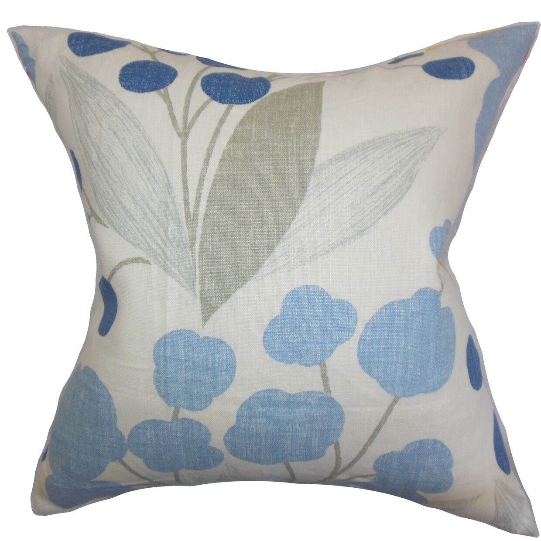 Geneen Floral Linen Throw Pillow Color: Blue, Size: 22