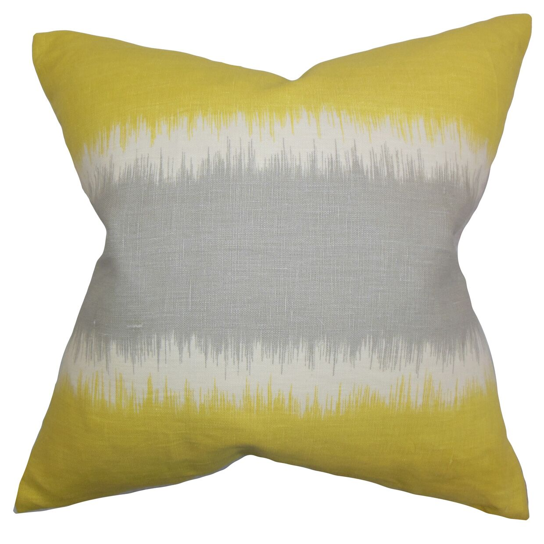 Juba Geometric Linen Throw Pillow Color: Olive, Size: 24