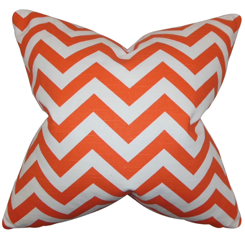 Falkner Chevron Cotton Throw Pillow Color: Tangerine, Size: 18