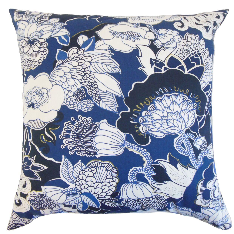 Dariela Floral Bedding Sham Color: Navy, Size: Euro
