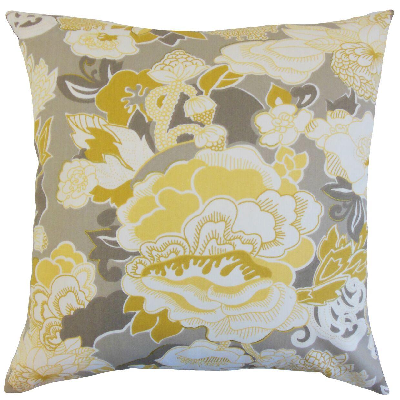 Dariela Floral Cotton Throw Pillow Color: Yellow, Size: 22