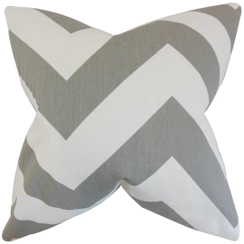 Eir Chevron Cotton Throw Pillow Color: Gray, Size: 24