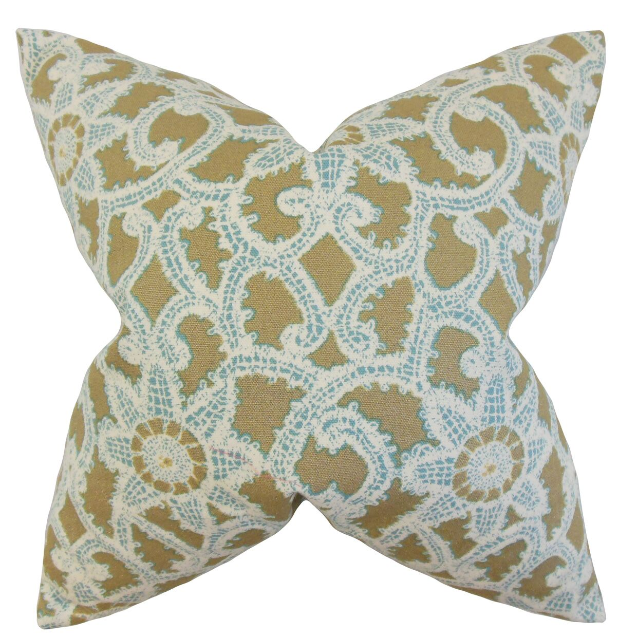 Brinley Geometric Cotton Throw Pillow Color: Gold, Size: 24
