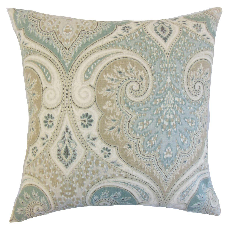 Kirrily Damask Linen Throw Pillow Color: Seafoam, Size: 24