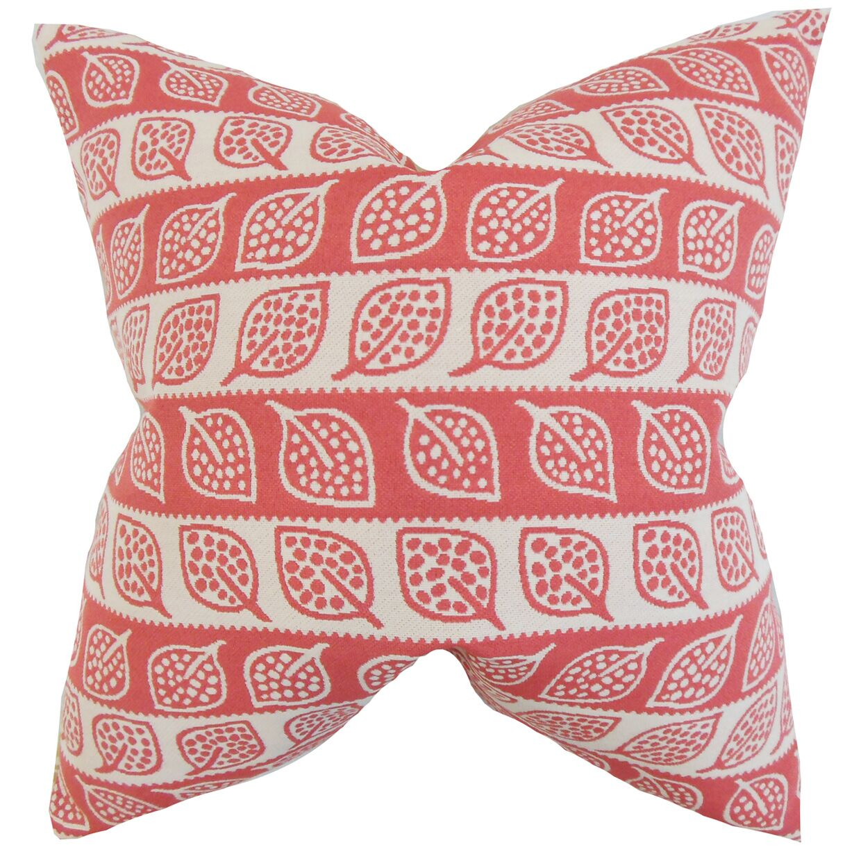 Ottilie Foliage Throw Pillow Color: Red, Size: 24