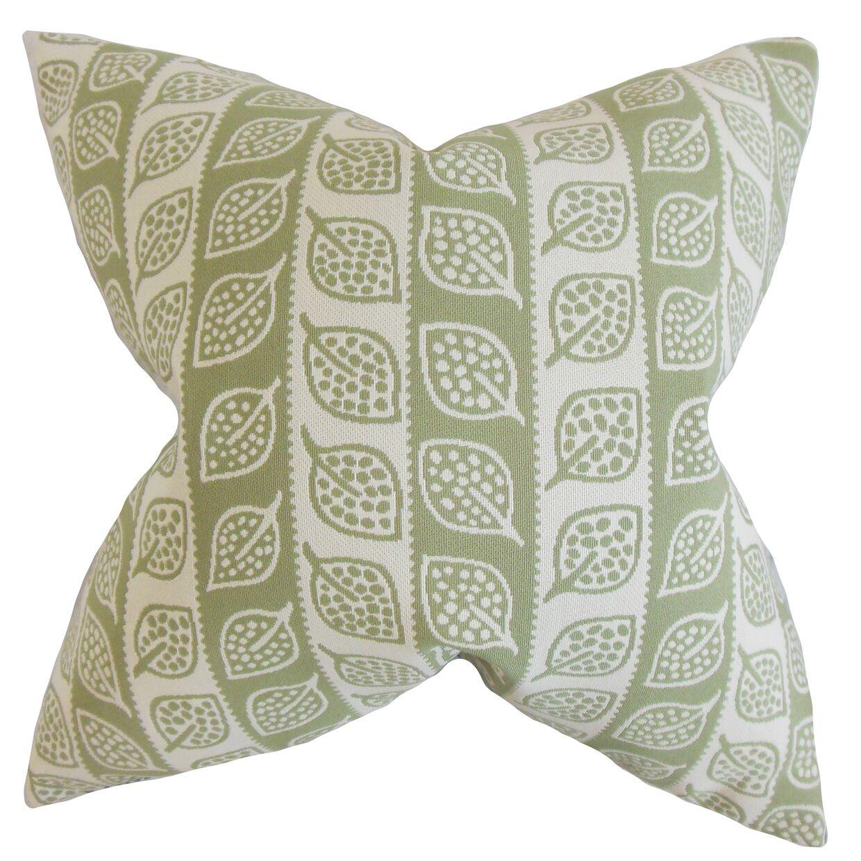 Ottilie Foliage Throw Pillow Color: Green, Size: 24
