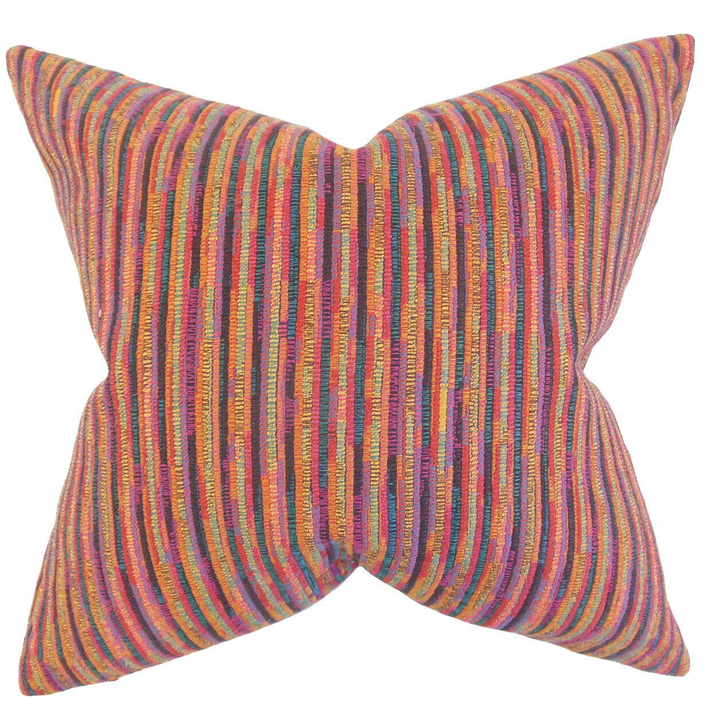 Qiturah Stripes Throw Pillow Color: Multi, Size: 22