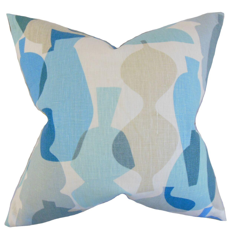Orla Geometric Linen Throw Pillow Color: Surf, Size: 24