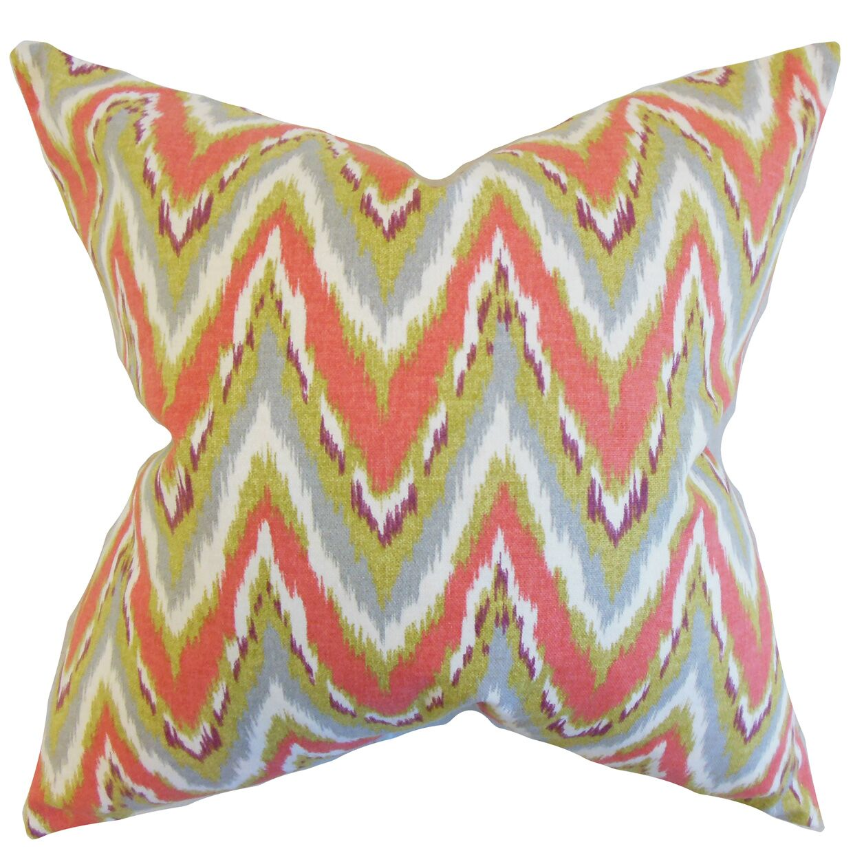 Matisse Zigzag Cotton Throw Pillow Color: Coral, Size: 24